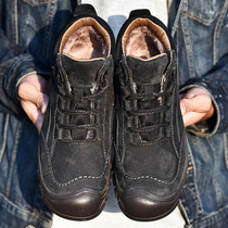 NIAN JEEP cotton shoes male leather winter warm velvet Dad shoes Father hundred old and middle-aged casual shoes