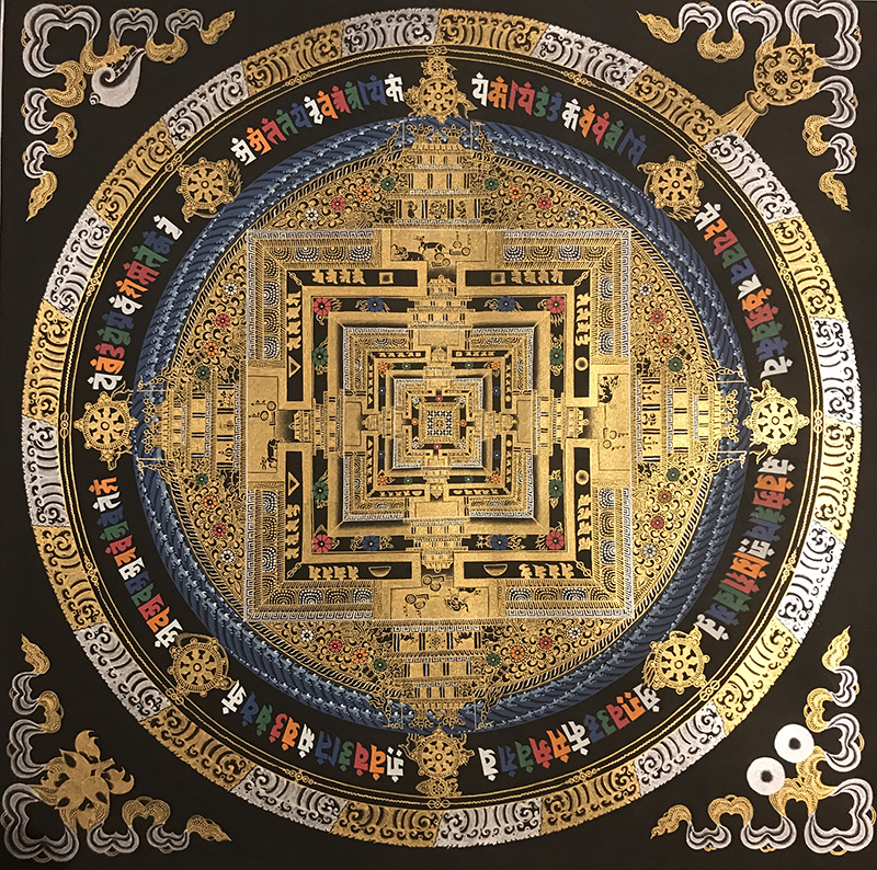 Tangka Tibet hand-painted Nepali painting of the golden black and gold temple city when the wheel King Kong living room Xuanguan decorative painting hanging painting gift