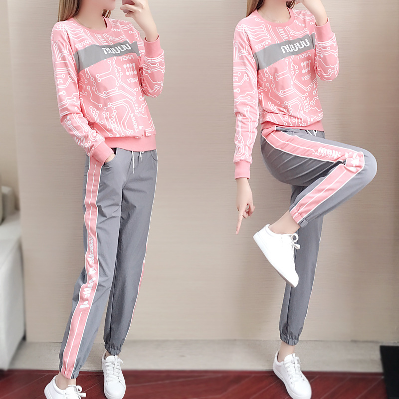 Sports suit Womens spring and autumn new running fashion casual sweater trousers two sets of outdoor loose sportswear tide
