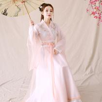 The costume womens improvement of Hanfus fairy style Chinese ancient dance performance costume cross-collar waist long skirt full set of autumn