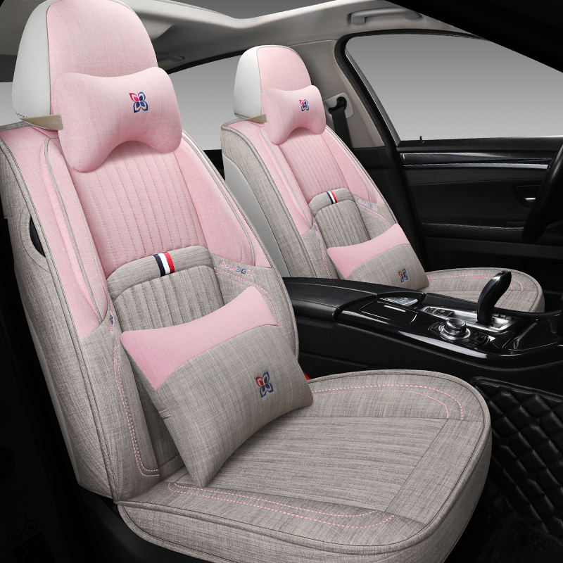 Four Seasons General Linen all-inclusive car seat set fabric 19 new 20 seat set special cloth seat cushion fully surrounded cushion