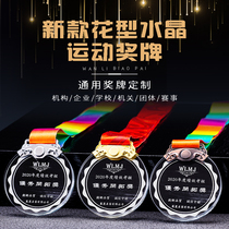 Crystal pendants custom medal round medal sports Taekwondo marathon games recognition company school
