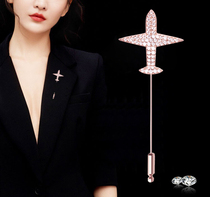 South Korea diamond small plane brooch woman simple atmosphere one-word needle jacket suit man accessories pin fashion couple