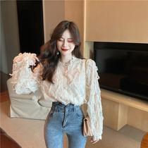 2021 Autumn New Korean Super fairy sweet V collar long sleeve lace hollow base shirt slim shirt top women