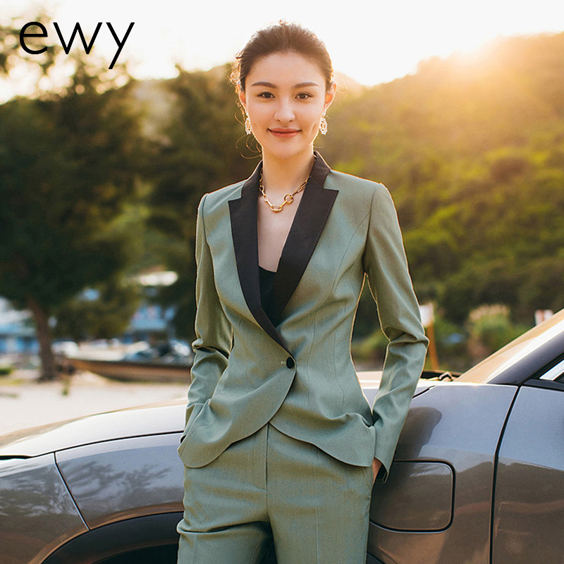 High-end fashion business slim suit set 2021 spring new splicing collar white-collar workwear formal womens suit