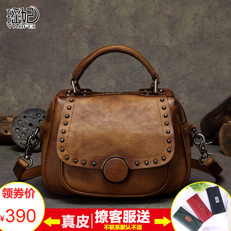 Leather lady bag 2019 new style retro lady bag soft leather oblique Bag small head Leather Handmade fashionable single shoulder bag