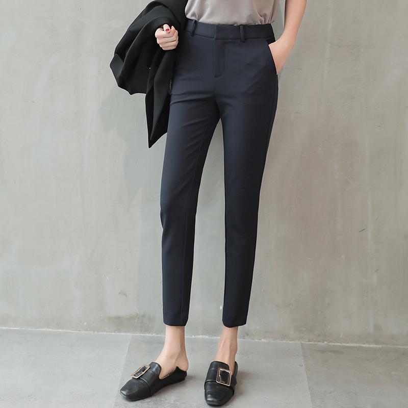 2021 new Korean version of professional leisure wild Harun black slim slim nine points British small feet suit pants women