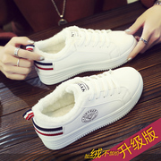 White leather shoes with thick bottom increased winter new Korean students all-match canvas shoes and cotton shoes and warm woman