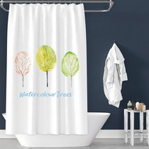 Nordic Creative tree Waterproof shower curtain thickened anti-mildew shower curtain bath partition curtain bathroom curtain free punching hanging curtain