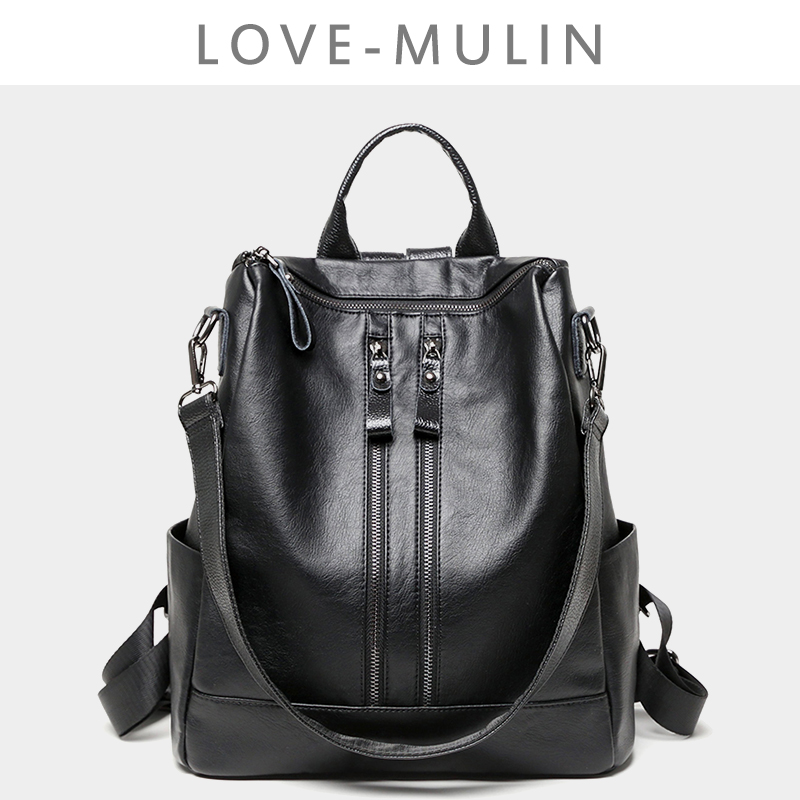 Double shoulder bag women soft leather 2019 new Korean version fashionable double-purpose travel ladies backpack leisure mass tide