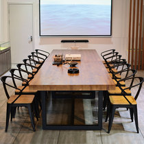 Solid wood conference table long table simple modern desk industrial style long table Nordic negotiation table and chair combination