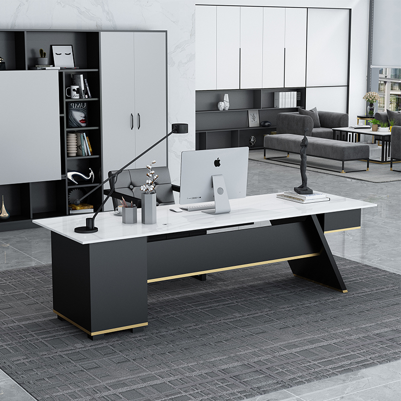 Marble boss table simple modern desk chair combination light luxury president big shift manager desk manager desk customization
