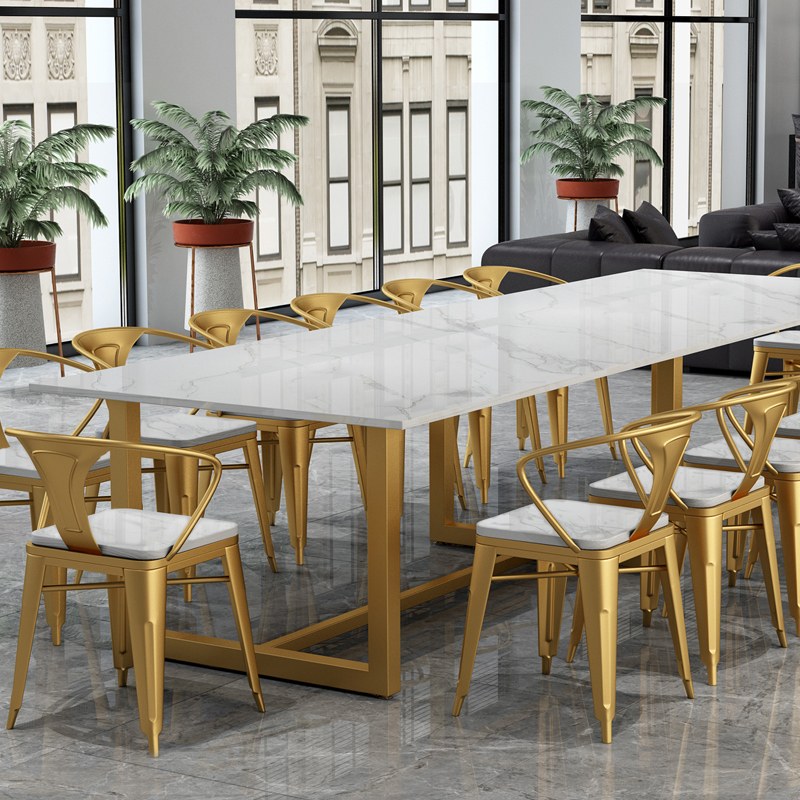 Marble light luxury conference table long table simple modern network red negotiating table and chair combination office computer table business table
