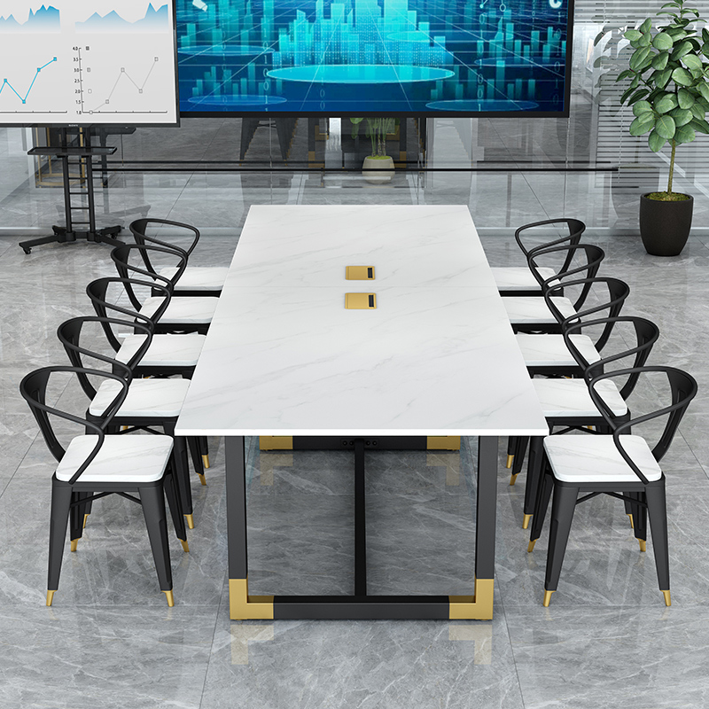 Simple modern marble conference table benches and chairs combined Nordic light luxury desk negotiating table casual reception room