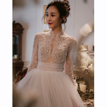 Sennage retro court European and American Princess dream little tailed wedding dress