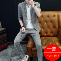 Mens casual thin section Han Edition tide British style slim fit suit