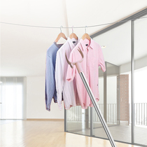 Household clothes pole ya fork stainless steel clothes pole telescopic pick clothes pole bold hook hanging clothes clothes pole fork