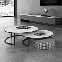 Nordic Marble round coffee table combination living room Modern simple household small apartment complete Metal light luxury coffee table