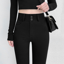Black jeans womens high waist tight small feet pants nine points 2021 new spring and autumn slim Joker trousers