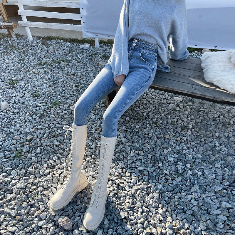 High-waisted light-colored skinny plush plus-thick jeans womens autumn winter new light blue thin outer wear thin velvet pipe pants