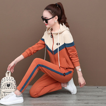 Sportswear set womens autumn 2021 New Korean version of fashion foreign style color color casual sweater two-piece spring and autumn