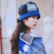 Blue Dyeing ~ Original literature and art fan retro pure handmade knitted female hat block beggar wandering male and female Kapital