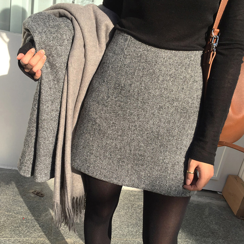 Woolen short skirt skirt women's autumn and winter package skirt high waist skirt A-line skirt package hip skirt Gray all over cloth half skirt