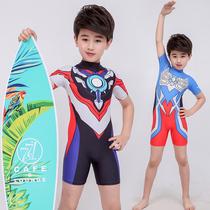 Детский купальник брюки для мальчиков цельный Ultraman одежда для мальчиков плавание одежда пляж солнцезащитный крем для детей быстросохнущие средние дети