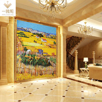 Van Gauars wheat field oil painting glass mosaic scissors TV background Wall harvest diagram Tile Landscape mural