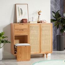 Full solid wood rattan shoe cabinet Nordic cherry wood two doors to open the door storage cabinet creative stacking seat secret cabinet