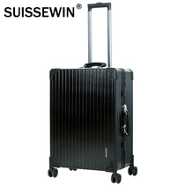 Swiss SUISSEWIN aluminum frame Tide men and women retro straight travel trolley case universal wear scratch-resistant simple models