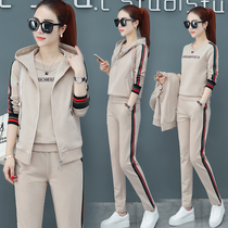 Sportswear set womens spring and autumn womens autumn 2021 new autumn and winter running casual sports three sets