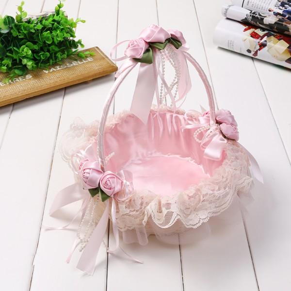 Hand-made high-end lace flower basket wedding flower basket wedding bridesmaid petals sprinkled flower basket dance flower basket