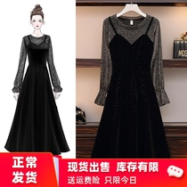 Fat mm large size womens spring new style French cover belly was thin strap fake two Super fairy quality dress