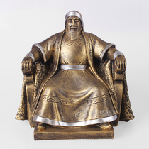 Genghis Khan seated figure ornaments Mongolian characteristic decorations Table crafts Resin ornaments Gifts Souvenirs