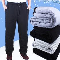 Хлопчатобумажные брюки мужские зимние утолщенные свободные средние люди наружная одежда пожилые хлопчатобумажные брюки мужчины 60-70-80 лет свободная эластичная талия