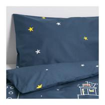 宜家国内代购 IKEA 汉马豪斯 被套和枕套 深蓝色 儿童 单人 现货