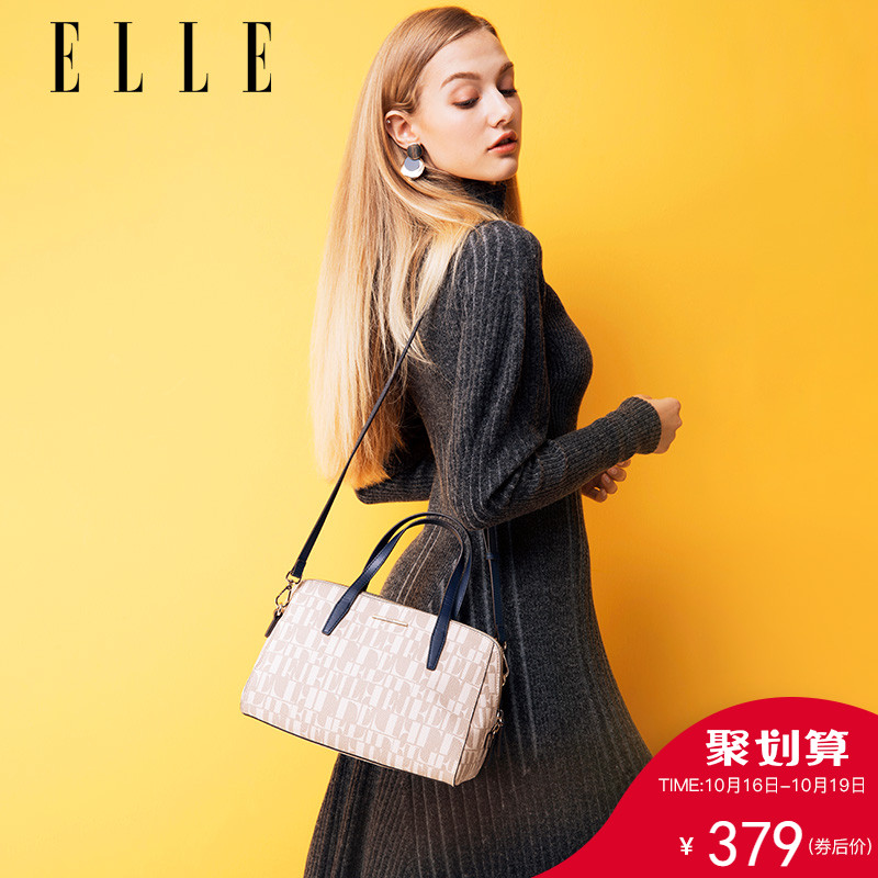 ELLE women's bag new fashion handbag 61268 large capacity letter printing shoulder bag Messenger bag female bag