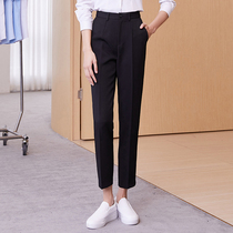 Black professional suit pants womens 2021 summer thin straight cigarette tube trousers work formal work nine-point pants