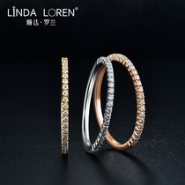 Linda Roland 18k gold Mo sang stone straight ring female United States imports D color row Diamond Diamond Ring male Mo sang stone ring