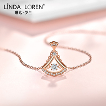 Linda Roland 18k gold necklace female beating heart skirt rose gold scalloped collarbone chain color gold pendant gift