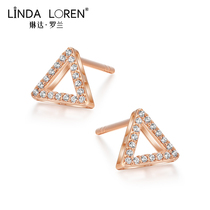 Linda Roland 18k gold earrings female rose gold mesh red tide simple small cold wind triangle earrings gift