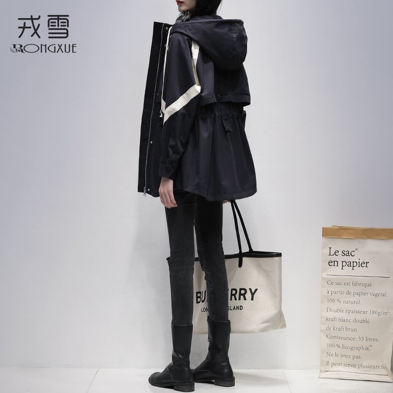 Windcoat girl small 2020 spring and autumn dress new Korean version of loose fashion hit color medium and long version of casual hooded jacket