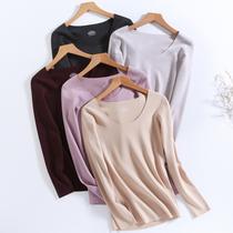 De velvet seamless warm clothes female thickened plus velvet autumn wear suit tops winter bottoming shirt self-heating underwear