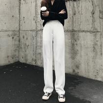 Белые широкие брюки женщин весна ретро высокой талией плюс размер прямой костюм брюки свободные случайные падение швабра брюки