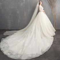 One word shoulder slender trailing princess dream luxury wedding dress