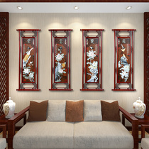 Dongyang wood carving pendant living room wall hanging Chinese solid wood carving background wall jade carving decorative painting Mei Lan bamboo chrysanthemum hanging painting