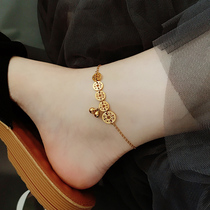 The new Korean version of the simple sexy titanium steel anklet female bell ins plated 18K Jin Sen series niche network red tide does not fade