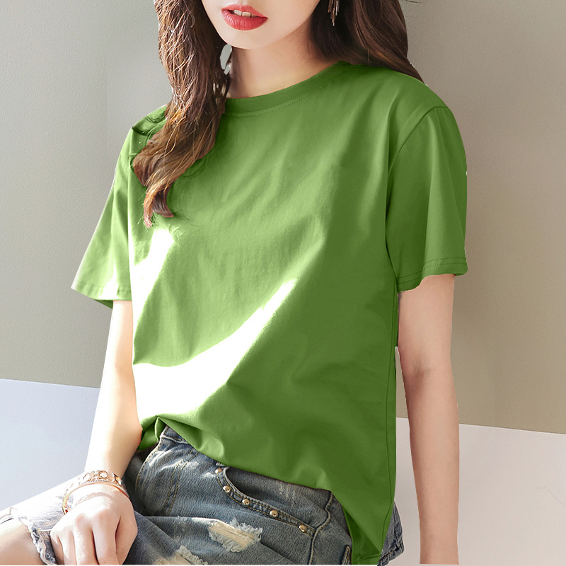 Tide brand new short-sleeved T-shirt womens solid-color loose cotton casual 100-fitting summer Korean version of the top half-sleeves