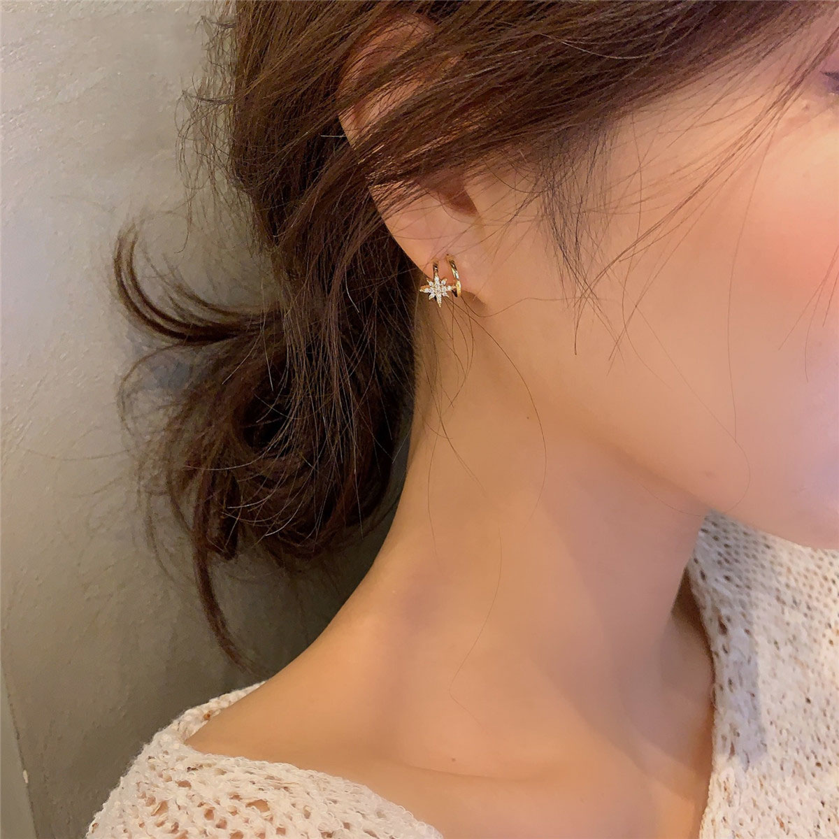 Six star earrings simple female small sterling silver exquisite cold wind senior sense temperament 2021 new tide earrings